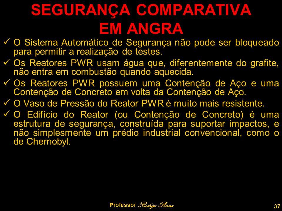 37 Professor Rodrigo Penna SEGURANÇA COMPARATIVA EM ANGRA O Sistema Automático de Segurança não pode ser bloqueado para permitir a realização de testes.