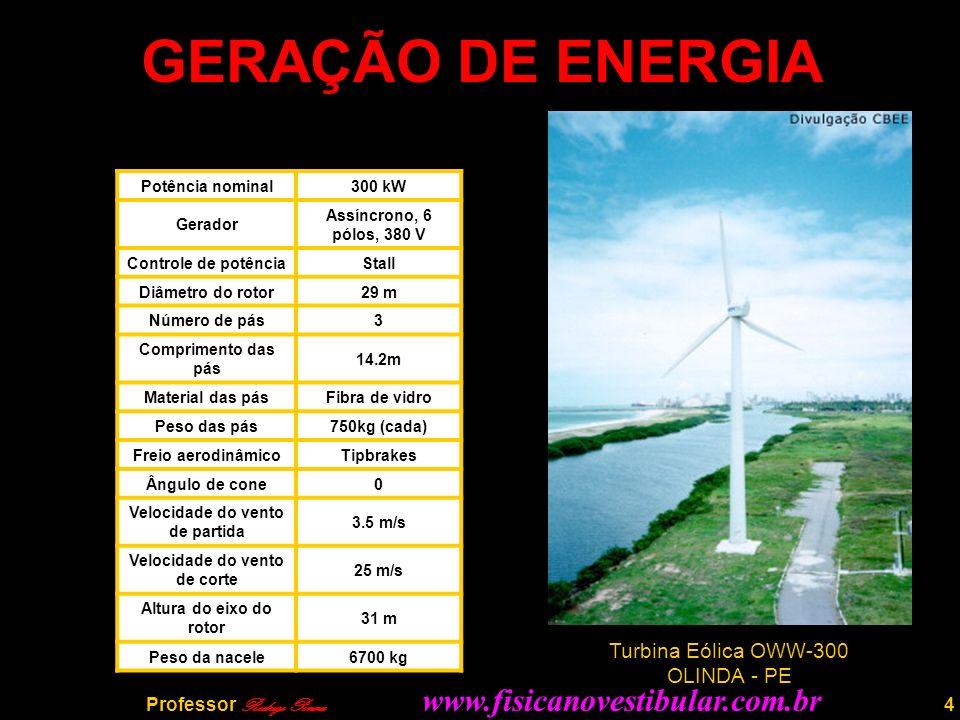 4 GERAÇÃO DE ENERGIA Potência nominal300 kW Gerador Assíncrono, 6 pólos, 380 V Controle de potênciaStall Diâmetro do rotor29 m Número de pás3 Comprimento das pás 14.2m Material das pásFibra de vidro Peso das pás750kg (cada) Freio aerodinâmicoTipbrakes Ângulo de cone0 Velocidade do vento de partida 3.5 m/s Velocidade do vento de corte 25 m/s Altura do eixo do rotor 31 m Peso da nacele6700 kg Turbina Eólica OWW-300 OLINDA - PE Professor Rodrigo Penna www.fisicanovestibular.com.br