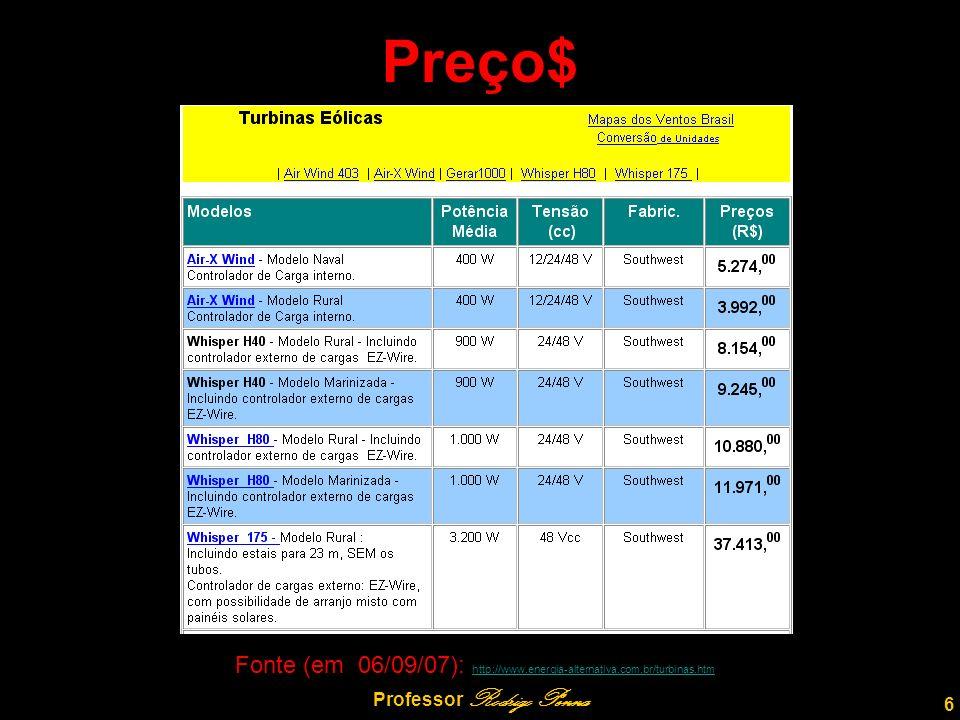Preço$ 6 Professor Rodrigo Penna Fonte (em 06/09/07): http://www.energia-alternativa.com.br/turbinas.htm http://www.energia-alternativa.com.br/turbinas.htm