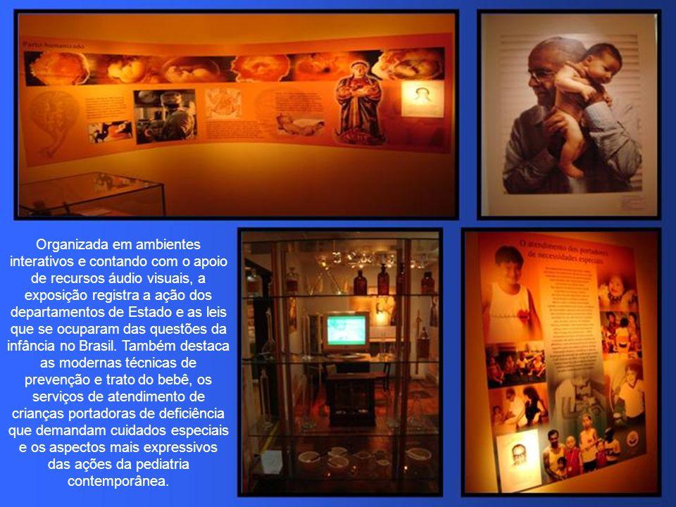 Organizada em ambientes interativos e contando com o apoio de recursos áudio visuais, a exposição registra a ação dos departamentos de Estado e as leis que se ocuparam das questões da infância no Brasil.