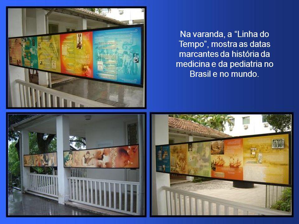 Na varanda, a Linha do Tempo, mostra as datas marcantes da história da medicina e da pediatria no Brasil e no mundo.