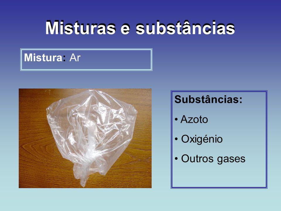 Mistura: Ar Substâncias: Azoto Oxigénio Outros gases Misturas e substâncias