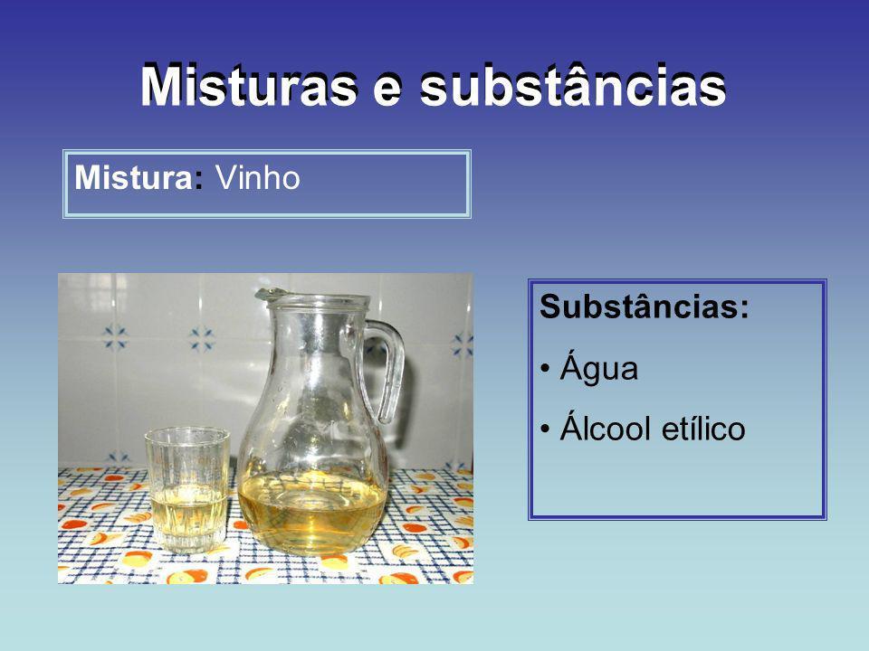 Mistura: Vinho Substâncias: Água Álcool etílico Misturas e substâncias