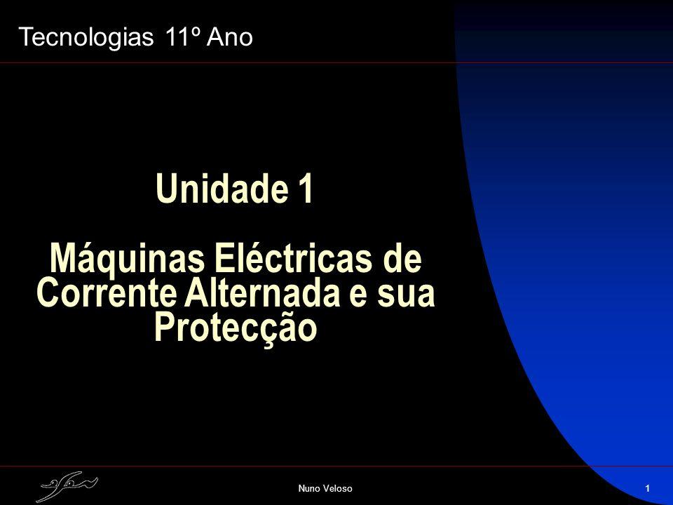 Nuno Veloso1 Unidade 1 Máquinas Eléctricas de Corrente Alternada e sua Protecção Tecnologias 11º Ano