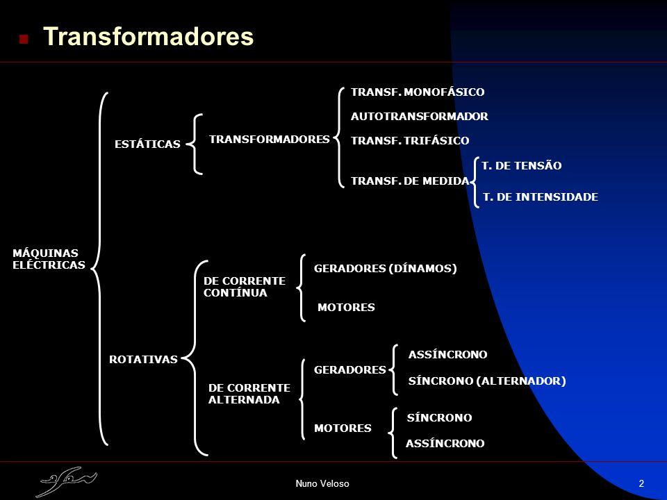 Nuno Veloso2 MÁQUINAS ELÉCTRICAS ESTÁTICAS ROTATIVAS TRANSFORMADORES TRANSF. MONOFÁSICO AUTOTRANSFORMADOR TRANSF. TRIFÁSICO TRANSF. DE MEDIDA T. DE TE