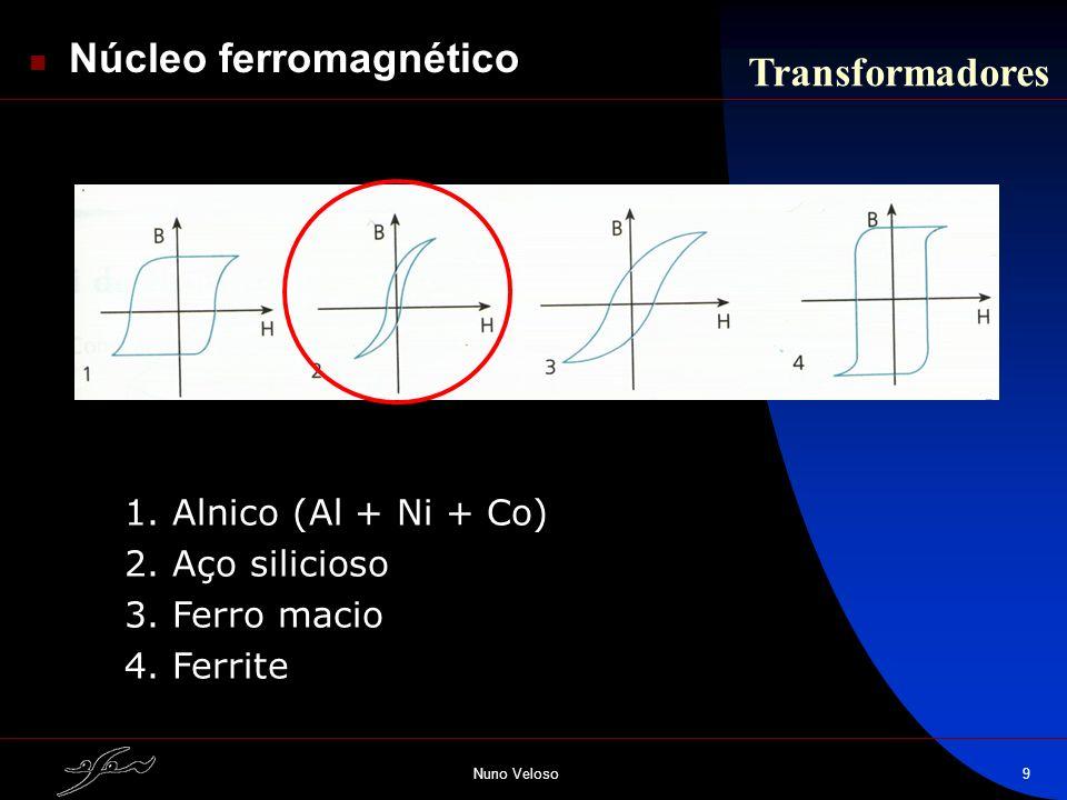 Nuno Veloso9 Transformadores Núcleo ferromagnético 1. Alnico (Al + Ni + Co) 2. Aço silicioso 3. Ferro macio 4. Ferrite