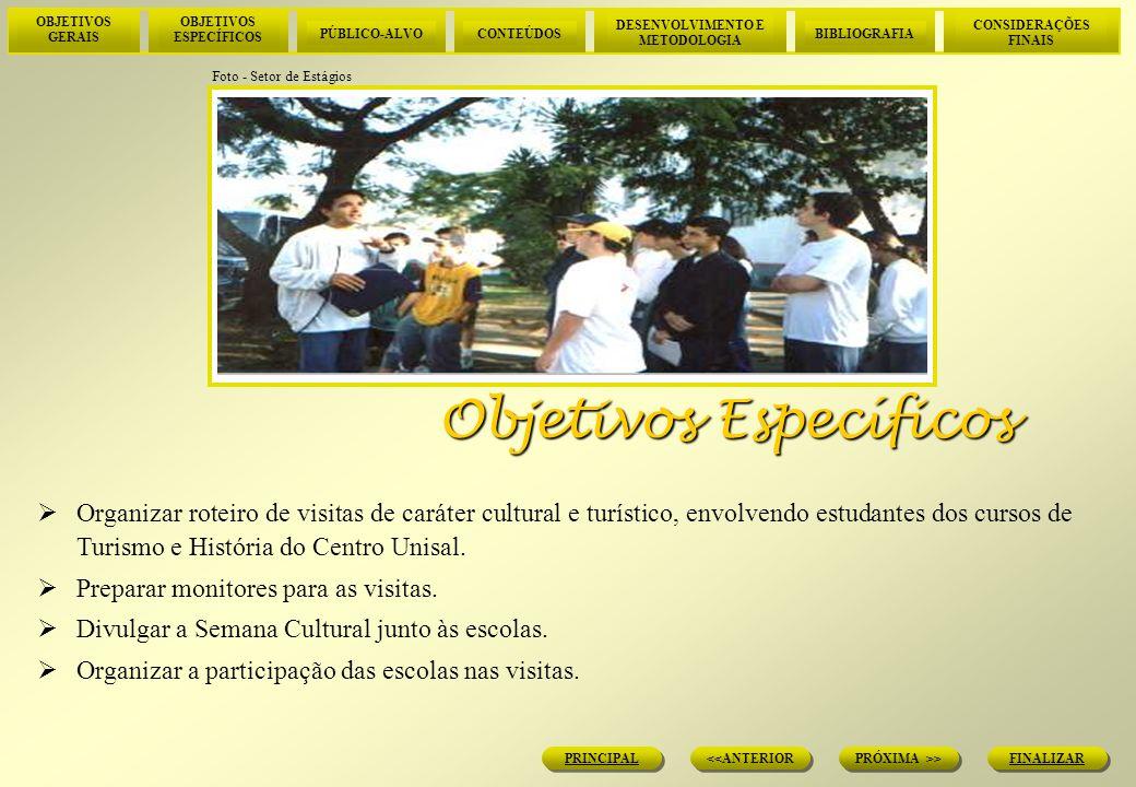 OBJETIVOS GERAIS OBJETIVOS ESPECÍFICOS PÚBLICO-ALVOCONTEÚDOS DESENVOLVIMENTO E METODOLOGIA BIBLIOGRAFIA CONSIDERAÇÕES FINAIS FINALIZAR PRÓXIMA >> <<ANTERIOR PRINCIPAL Desenvolvimento e Metodologia sário.