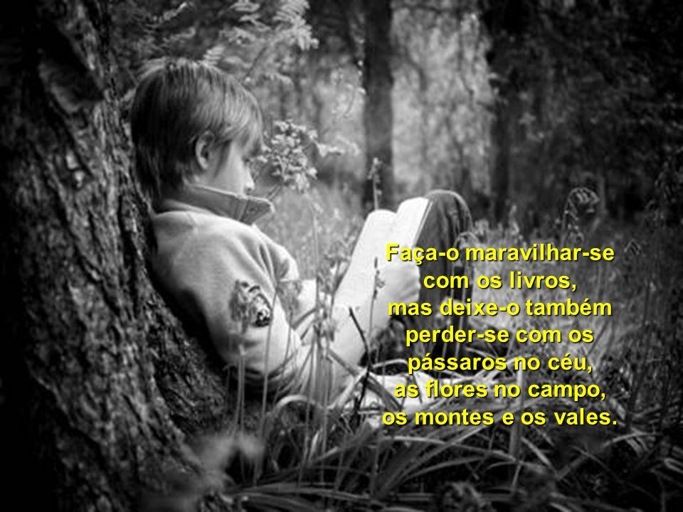 Faça-o maravilhar-se com os livros, mas deixe-o também perder-se com os pássaros no céu, as flores no campo, os montes e os vales.
