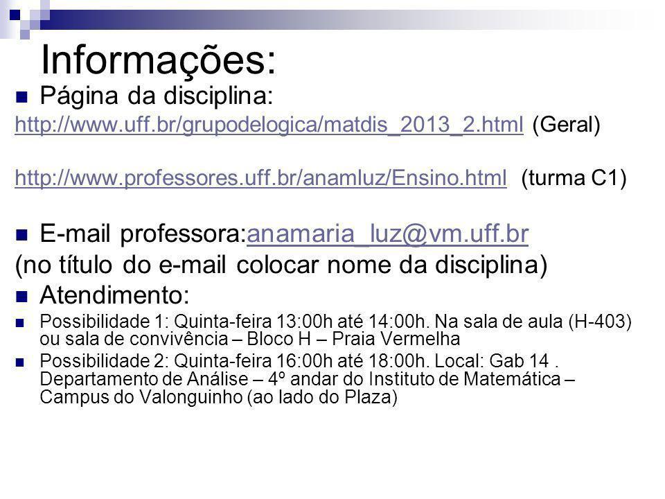 Informações: Página da disciplina: http://www.uff.br/grupodelogica/matdis_2013_2.htmlhttp://www.uff.br/grupodelogica/matdis_2013_2.html (Geral) http:/