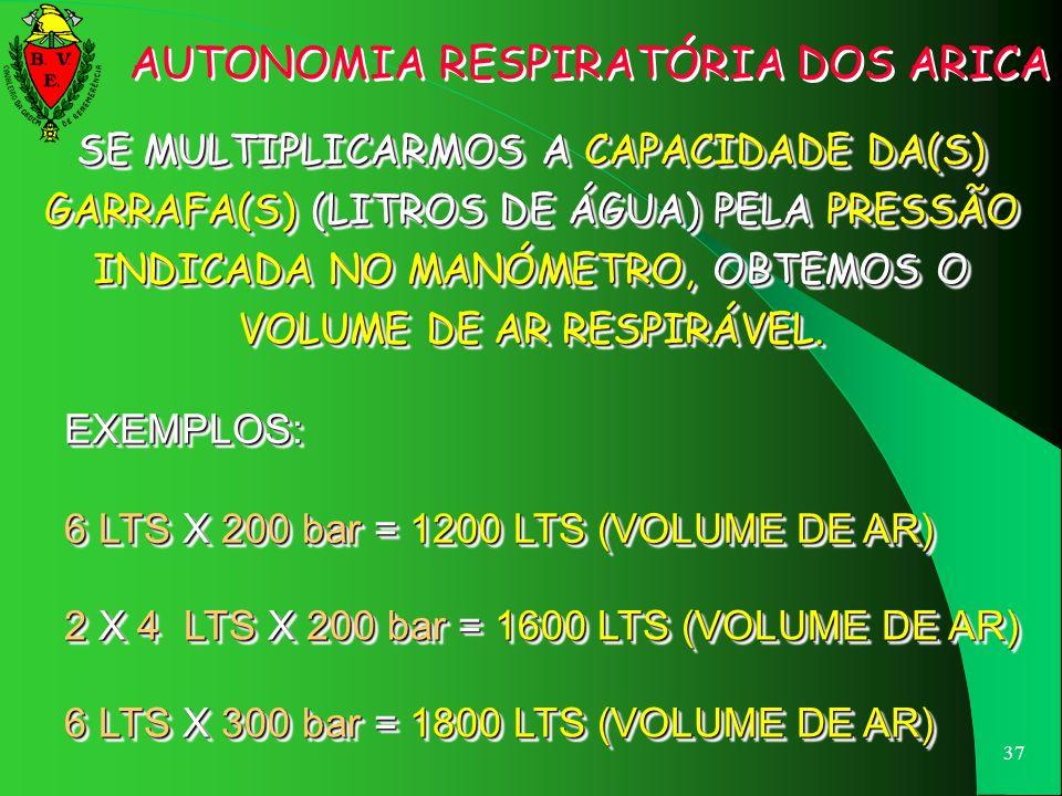 36 NO CASO DE ESTAS SEREM FABRICADAS EM MATERIAIS COMPÓSITOS, EXISTE UMA TIRA QUE CIRCUNDA A GARRAFA COM AS REFERIDAS INSCRIÇÕES. AIR CAP. 6 LT WORK 3