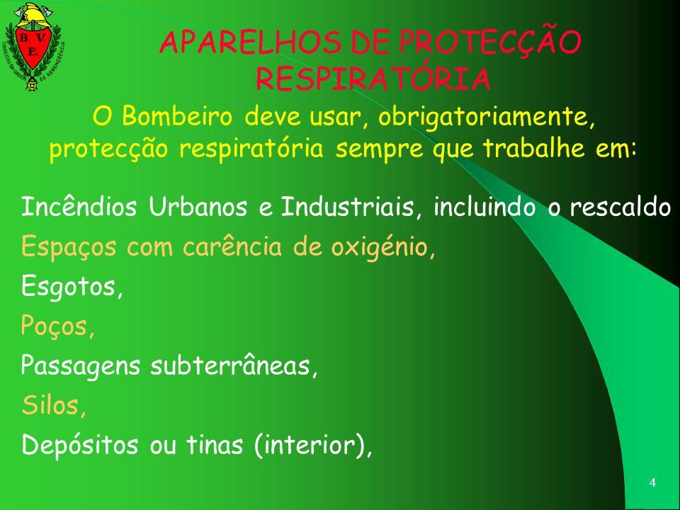 4 O Bombeiro deve usar, obrigatoriamente, protecção respiratória sempre que trabalhe em: Incêndios Urbanos e Industriais, incluindo o rescaldo Espaços com carência de oxigénio, Esgotos, Poços, Passagens subterrâneas, Silos, Depósitos ou tinas (interior), APARELHOS DE PROTECÇÃO RESPIRATÓRIA