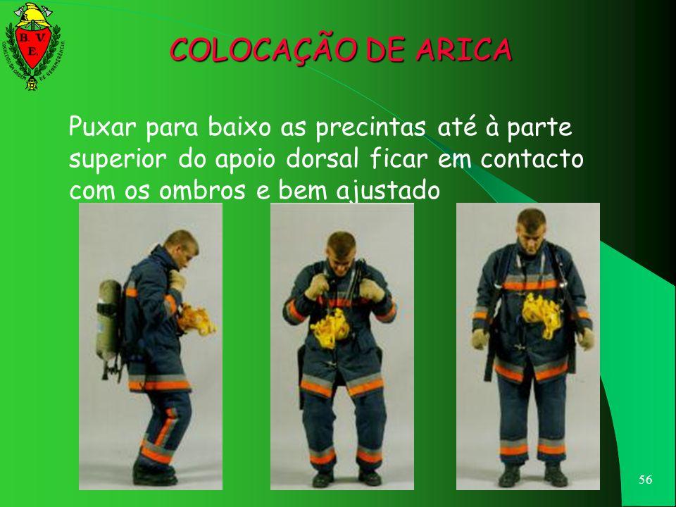 55 Agarrar as precintas junto ao apoio dorsal e deixar escorregar o aparelho para as costas COLOCAÇÃO DE ARICA