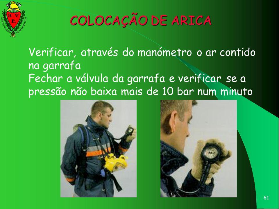 60 Abrir a válvula da garrafa, segurando o manómetro na mão esquerda COLOCAÇÃO DE ARICA