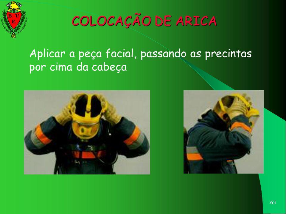 62 Abrir bem as precintas elásticas de fixação da peça facial COLOCAÇÃO DE ARICA