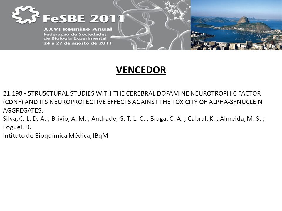 VENCEDOR 21.198 - STRUSCTURAL STUDIES WITH THE CEREBRAL DOPAMINE NEUROTROPHIC FACTOR (CDNF) AND ITS NEUROPROTECTIVE EFFECTS AGAINST THE TOXICITY OF AL