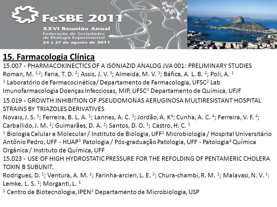 15. Farmacologia Clínica 15.007 - PHARMACOKINECTICS OF A ISONIAZID ANALOG JVA 001: PRELIMINARY STUDIES Roman, M. 1,2 ; Faria, T. D. 2 ; Assis, J. V. 3
