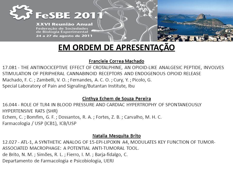 23.270 MODULATORY EFFECTS OF CAFFEINE ON GABAERGIC SYSTEM IN EMBRYONIC AVIAN RETINA Ferreira, D.