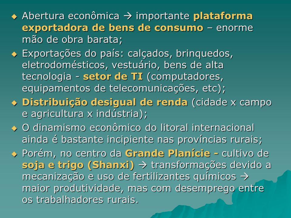 Abertura econômica importante plataforma exportadora de bens de consumo – enorme mão de obra barata; Abertura econômica importante plataforma exportad