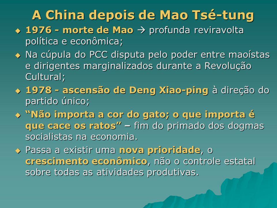 A China depois de Mao Tsé-tung A China depois de Mao Tsé-tung 1976 - morte de Mao profunda reviravolta política e econômica; 1976 - morte de Mao profunda reviravolta política e econômica; Na cúpula do PCC disputa pelo poder entre maoístas e dirigentes marginalizados durante a Revolução Cultural; Na cúpula do PCC disputa pelo poder entre maoístas e dirigentes marginalizados durante a Revolução Cultural; 1978 - ascensão de Deng Xiao-ping à direção do partido único; 1978 - ascensão de Deng Xiao-ping à direção do partido único; Não importa a cor do gato; o que importa é que cace os ratos – fim do primado dos dogmas socialistas na economia.