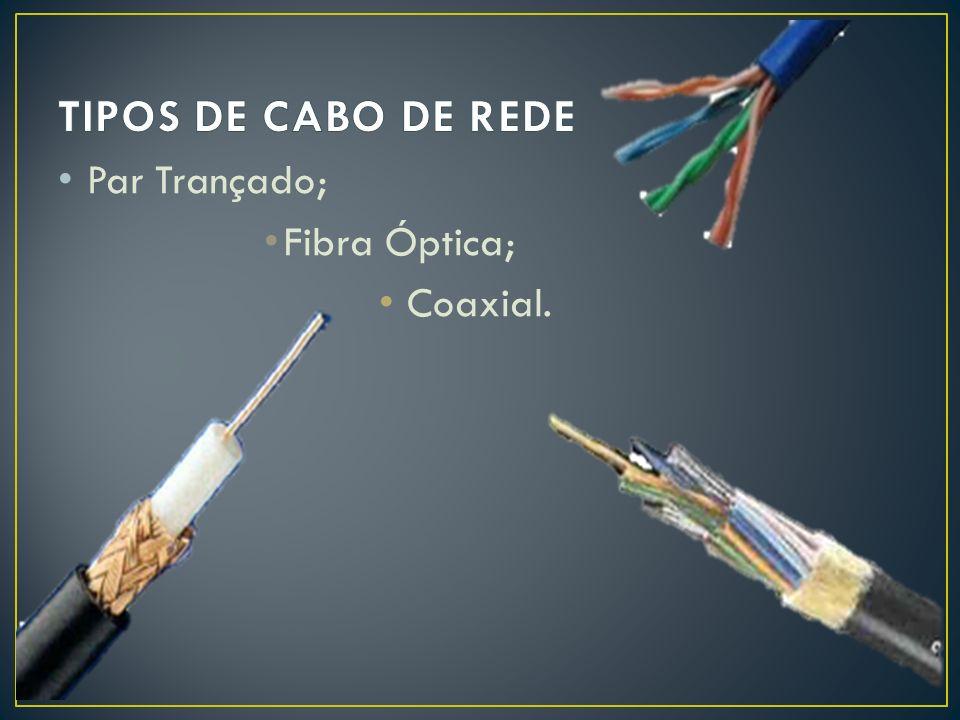 Durável; Pouco Flexível Velocidade de Transmissão: até 10 Mb/Seg; Núcleo de Cobre – envolvido por material isolante – envolvido por material de plástico.