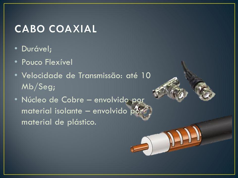 Durável; Pouco Flexível Velocidade de Transmissão: até 10 Mb/Seg; Núcleo de Cobre – envolvido por material isolante – envolvido por material de plásti