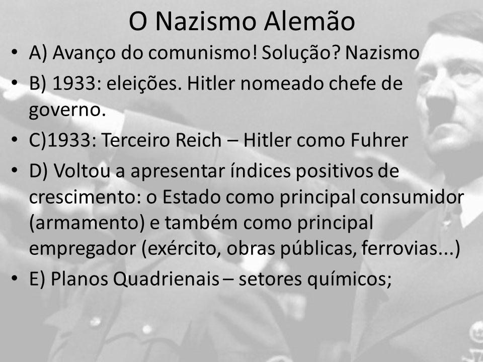 O Nazismo Alemão A) Avanço do comunismo.Solução. Nazismo B) 1933: eleições.