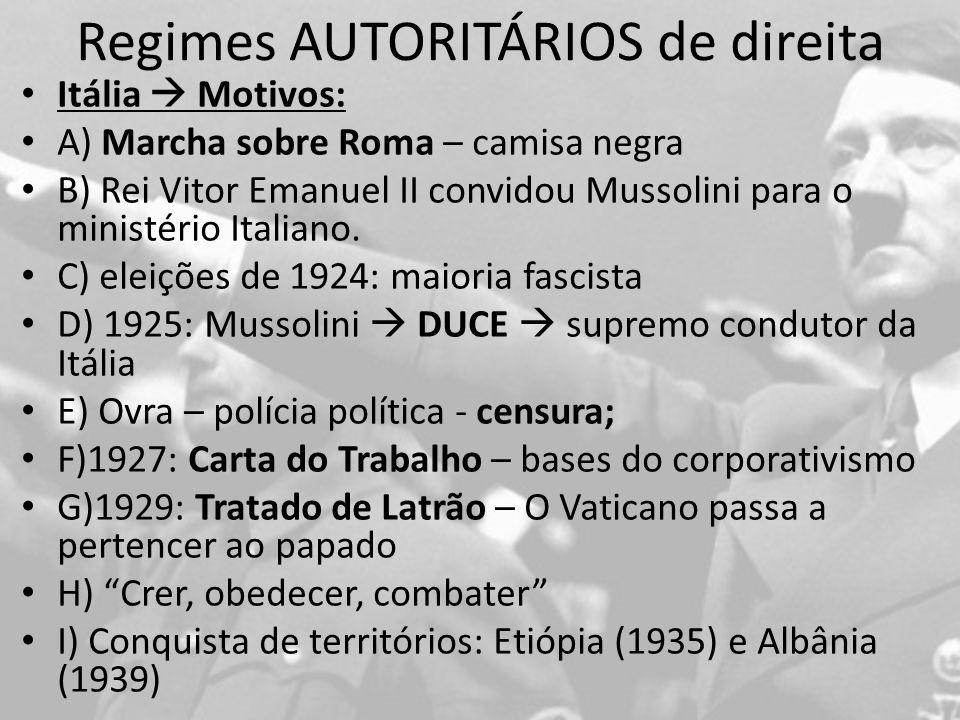 Regimes AUTORITÁRIOS de direita Itália Motivos: A) Marcha sobre Roma – camisa negra B) Rei Vitor Emanuel II convidou Mussolini para o ministério Italiano.