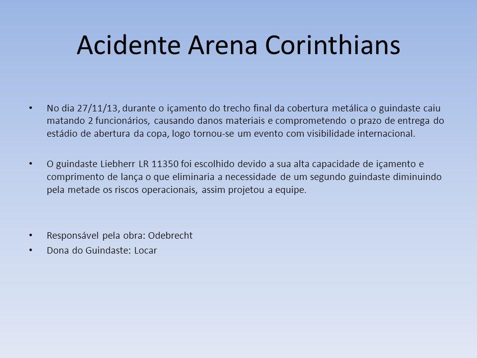 Acidente Arena Corinthians No dia 27/11/13, durante o içamento do trecho final da cobertura metálica o guindaste caiu matando 2 funcionários, causando