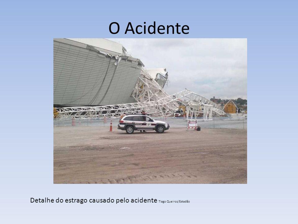 O Acidente À distância, é possível observar os danos causados pelo desabamento do guindaste Tiago Queiroz/Estadão