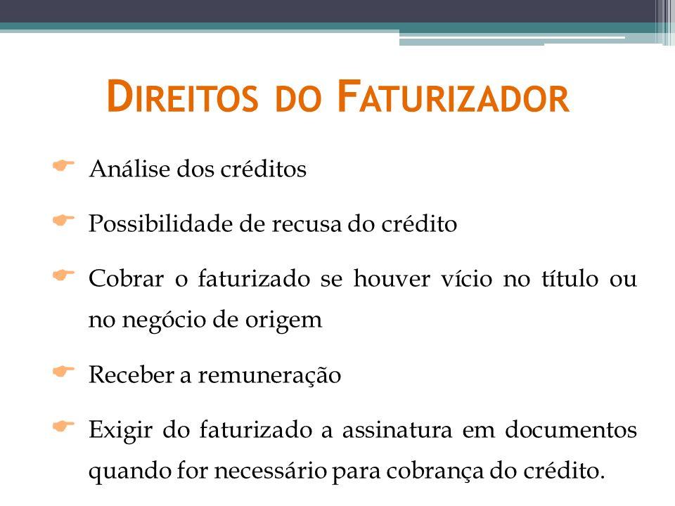 D IREITOS DO F ATURIZADOR Análise dos créditos Possibilidade de recusa do crédito Cobrar o faturizado se houver vício no título ou no negócio de orige