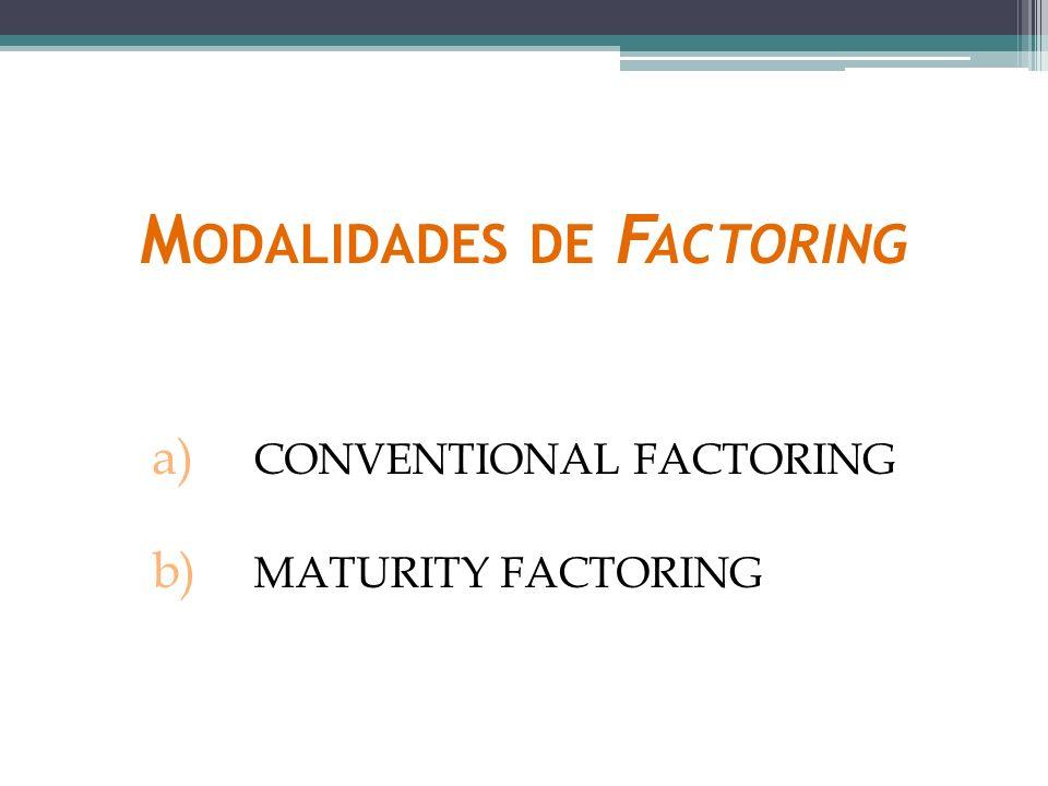 CONVENTIONAL FACTORING ( FACTORING TRADICIONAL OU CONVENCIONAL ) É aquela em que a faturizadora garante o pagamento das faturas antecipando o seu valor ao faturizado.