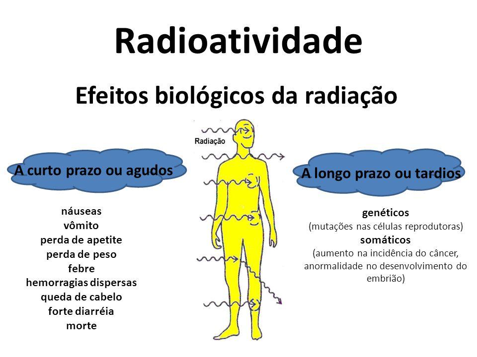 Radioatividade Efeitos biológicos da radiação A curto prazo ou agudos A longo prazo ou tardios náuseas vômito perda de apetite perda de peso febre hem