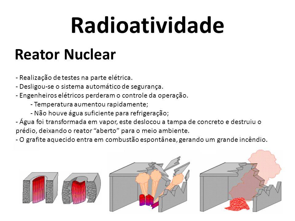 Radioatividade Reator Nuclear - Realização de testes na parte elétrica. - Desligou-se o sistema automático de segurança. - Engenheiros elétricos perde