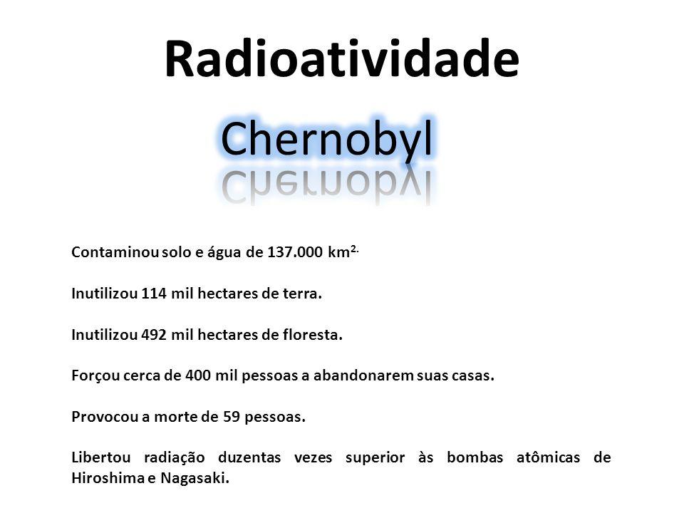 Radioatividade Contaminou solo e água de 137.000 km 2. Inutilizou 114 mil hectares de terra. Inutilizou 492 mil hectares de floresta. Forçou cerca de