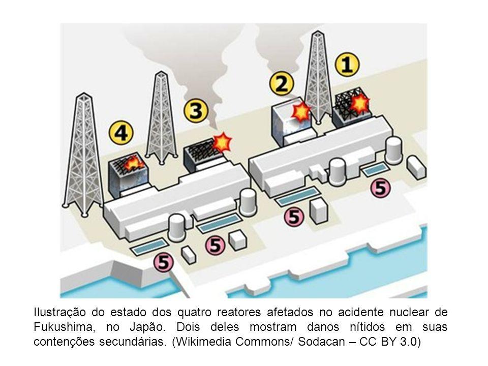 Ilustração do estado dos quatro reatores afetados no acidente nuclear de Fukushima, no Japão. Dois deles mostram danos nítidos em suas contenções secu