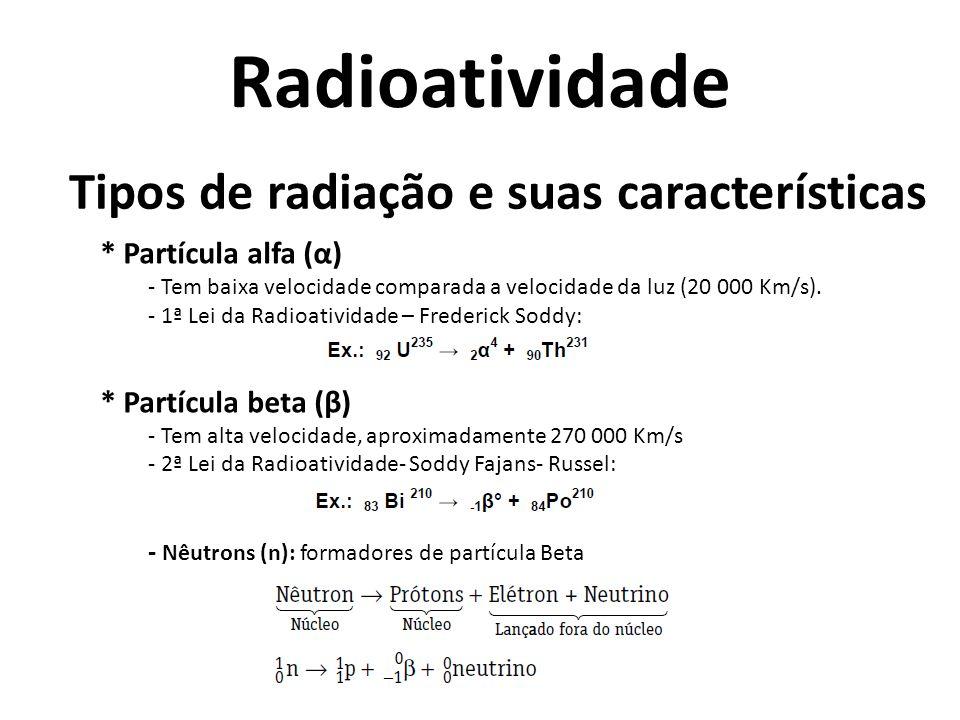 Tipos de radiação e suas características * Radiação Gama (γ) - São ondas eletromagnéticas.