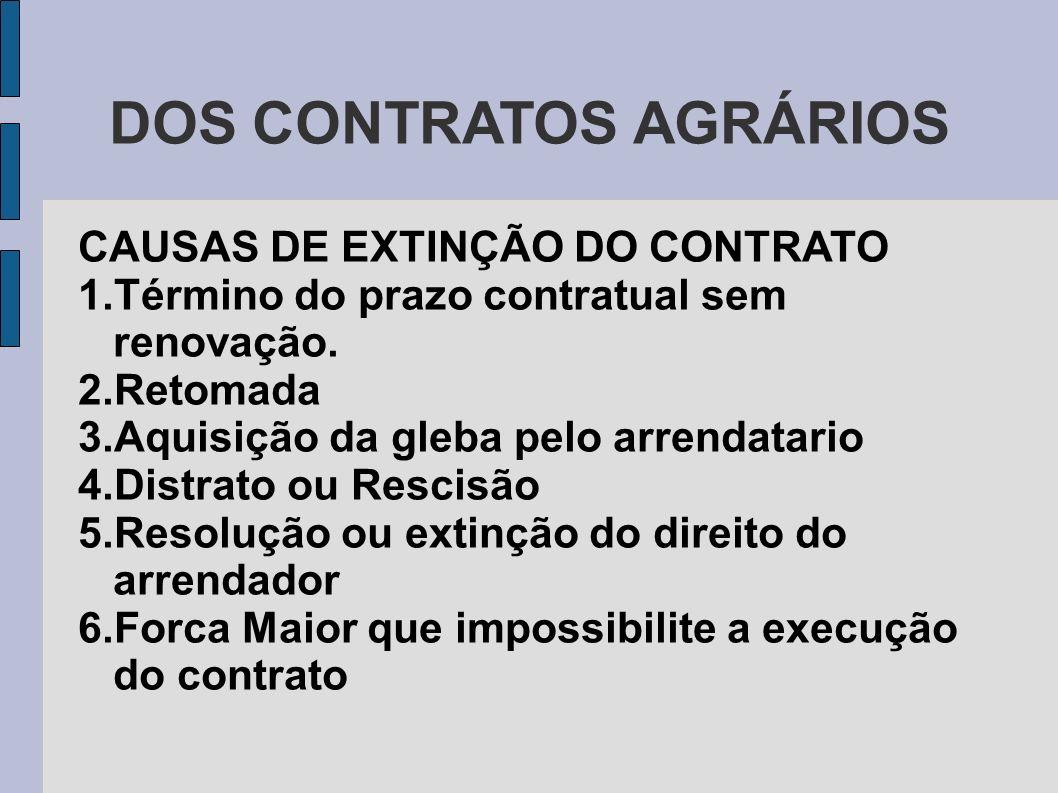 DOS CONTRATOS AGRÁRIOS CAUSAS DE EXTINÇÃO DO CONTRATO 1.Término do prazo contratual sem renovação.
