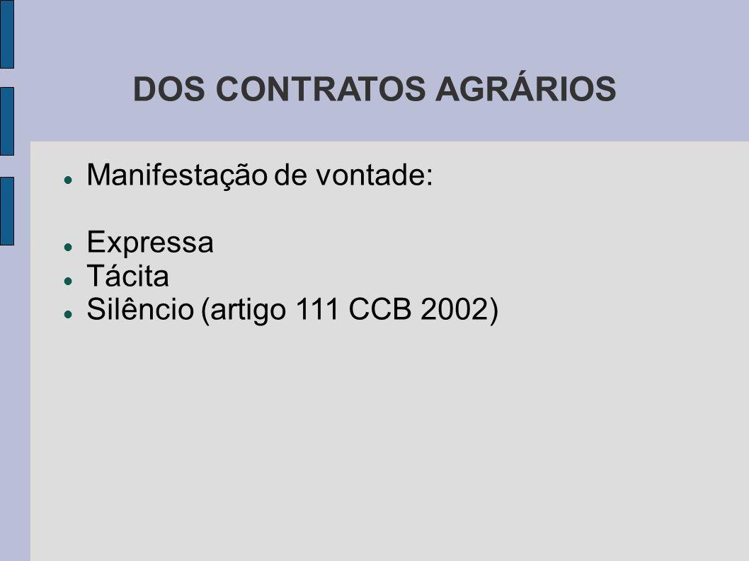 DOS CONTRATOS AGRÁRIOS Manifestação de vontade: Expressa Tácita Silêncio (artigo 111 CCB 2002)