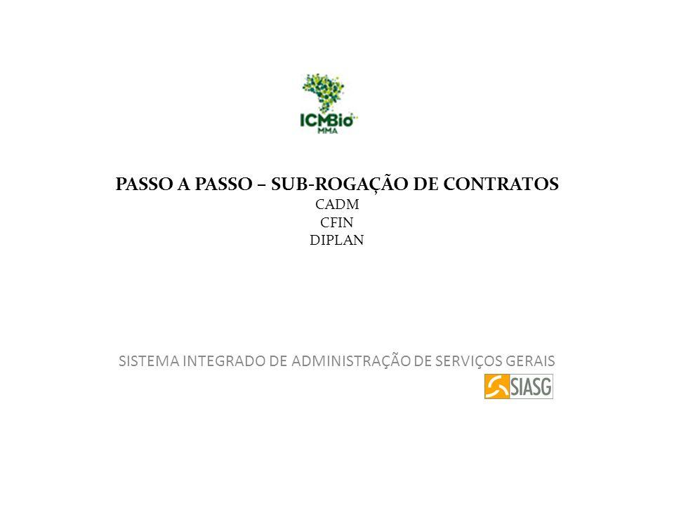 PASSO A PASSO – SUB-ROGAÇÃO DE CONTRATOS CADM CFIN DIPLAN SISTEMA INTEGRADO DE ADMINISTRAÇÃO DE SERVIÇOS GERAIS
