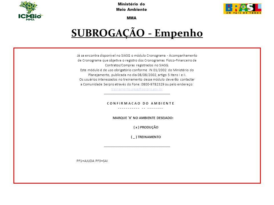 SUBROGAÇÃO - Empenho Já se encontra disponível no SIASG o módulo Cronograma - Acompanhamento de Cronograma que objetiva o registro dos Cronogramas Fís