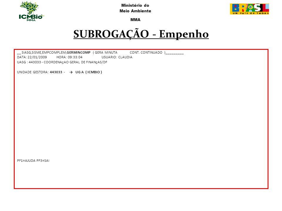 __ SIASG,SISME,EMPCOMPLEM,GERMINCOMP ( GERA MINUTACONT. CONTINUADO )_________ DATA: 22/01/2009 HORA: 09:33:04USUARIO: CLAUDIA UASG : 443033 - COORDENA