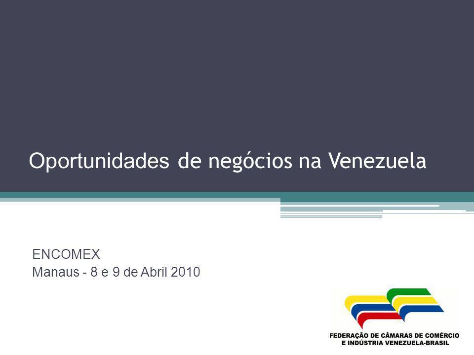 Exportação do Brasil para a Venezuela por fator agregado ANOBÁSICOS% SEMI- MANUFATURADO S % MANUFATURAD OS % OPERAÇÕE S ESPECIAIS %TOTAL 2.00229.407.9983,7%20.612.1842,6%748.095.89993,6%858.0940,1%798.974.175 2.00321.721.1013,6%24.844.9824,1%560.684.57992,2%978.4140,2%608.229.076 2.004119.546.1258,1%35.755.1462,4%1.301.399.34688,5%13.101.3880,9%1.469.802.005 2.005144.660.5246,5%45.185.8932,0%1.992.968.88989,6%40.890.5121,8%2.223.705.818 2.006239.078.5356,7%117.884.6693,3%3.114.386.19387,3%94.075.0182,6%3.565.424.415 2.007576.193.28112,2%106.213.3592,2%3.918.401.12882,9%123.132.2182,6%4.723.939.986 2.0081.393.546.59727,1%161.585.6733,1%3.568.574.42569,3%26.481.2970,5%5.150.187.992 2.009961.187.70126,6%246.759.5626,8%2.396.575.00066,4%5.817.0190,2%3.610.339.282 Fonte Sicomex