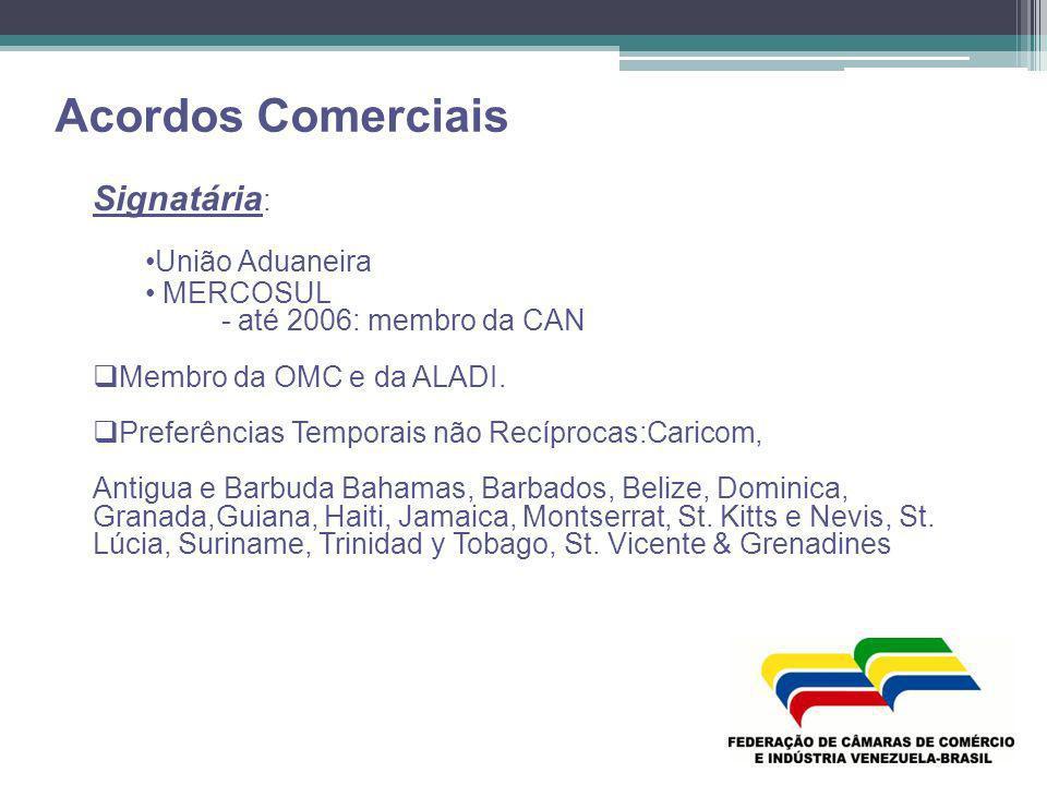 Acordos Comerciais Signatária : União Aduaneira MERCOSUL - até 2006: membro da CAN Membro da OMC e da ALADI. Preferências Temporais não Recíprocas:Car