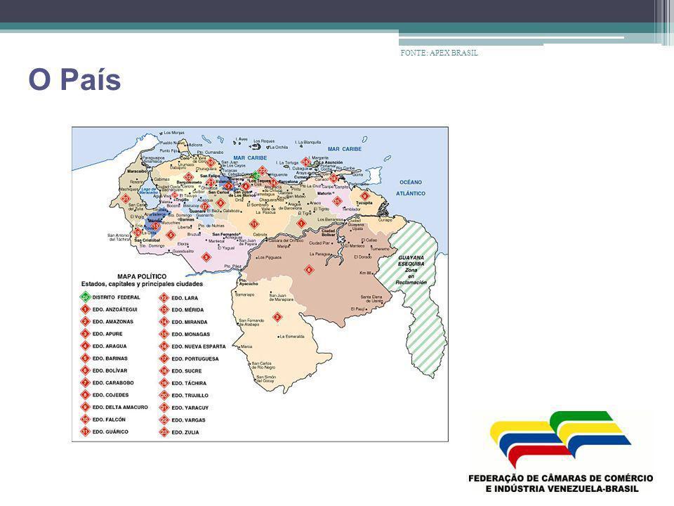 Dados Gerais Capital : Caracas (4,8 milhões habitantes), Principais Cidades : Maracaibo (3,5 milhões habitantes) Valencia (2,1 milhões habitantes), Maracay (1,5 milhões habitantes), Barquisimeto (1,35 milhões habitantes), Ciudad Guayana (1 milhão habitantes) Divisão Administrativa: 23 Estados, 1 Distrito Federal e72 Dependências Federais População: 28,549 milhões (2008) Urbana : 93% Força de trabalho : 12 milhões