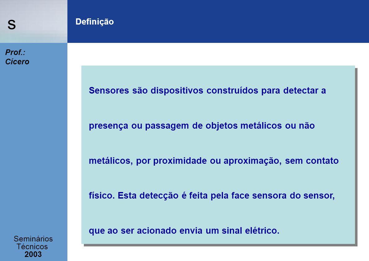s Seminários Técnicos 2003 Prof.: Cícero Definição Sensores são dispositivos construídos para detectar a presença ou passagem de objetos metálicos ou