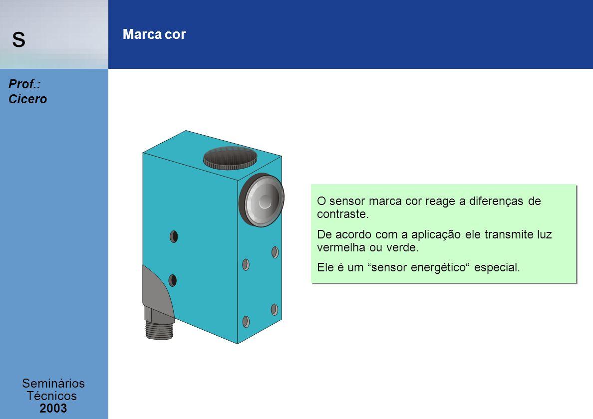 s Seminários Técnicos 2003 Prof.: Cícero O sensor marca cor reage a diferenças de contraste. De acordo com a aplicação ele transmite luz vermelha ou v