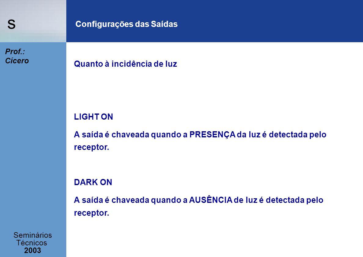 s Seminários Técnicos 2003 Prof.: Cícero Configurações das Saídas Quanto à incidência de luz LIGHT ON A saída é chaveada quando a PRESENÇA da luz é de