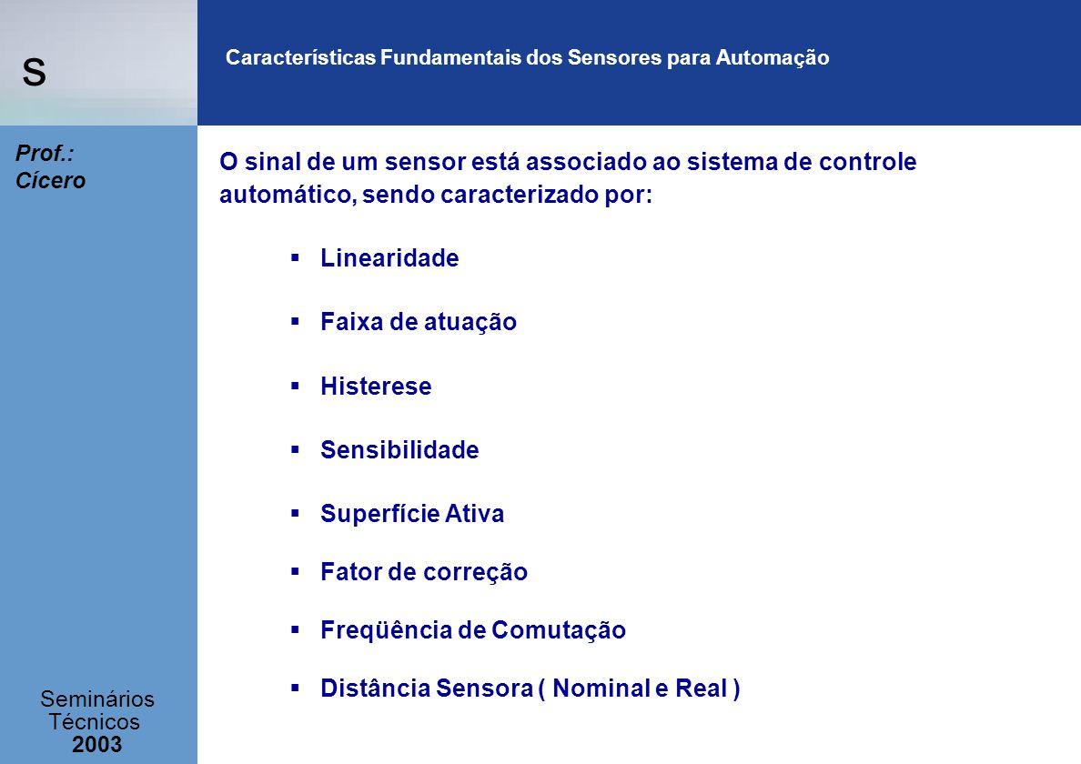 s Seminários Técnicos 2003 Prof.: Cícero Características Fundamentais dos Sensores para Automação O sinal de um sensor está associado ao sistema de co