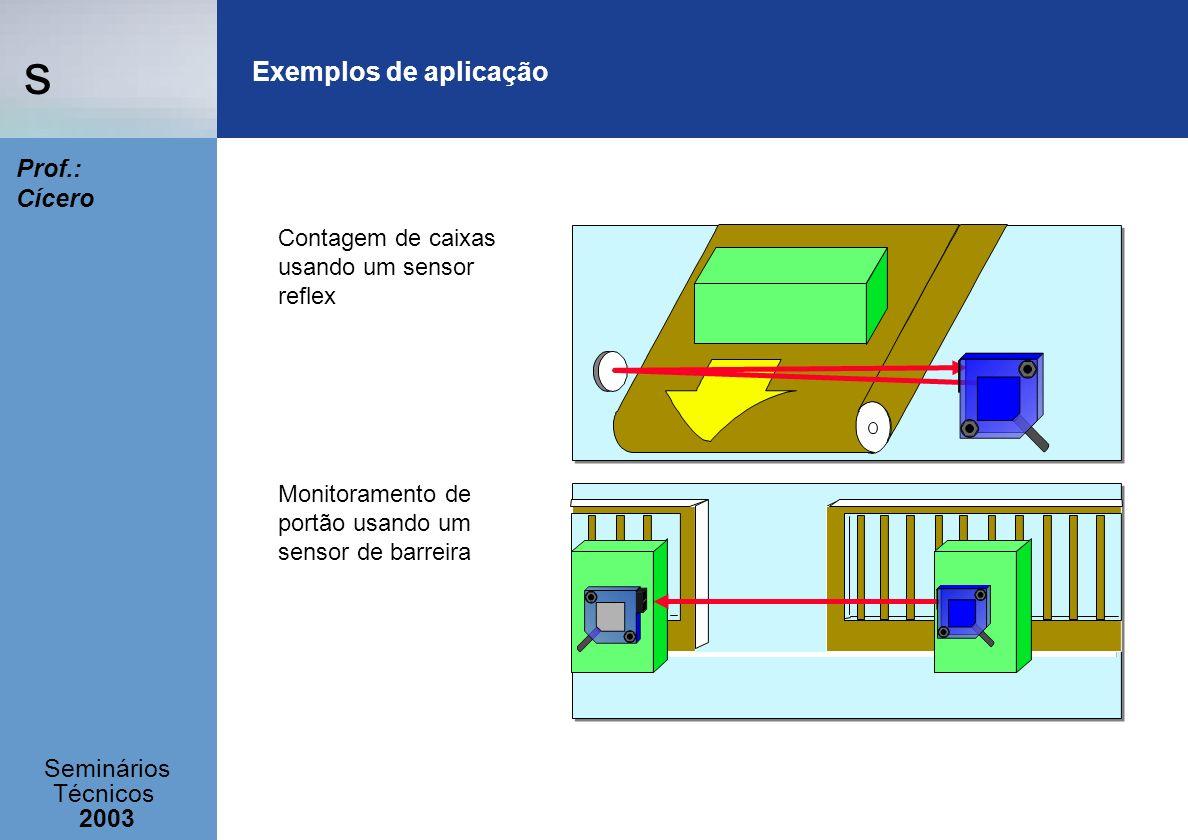 s Seminários Técnicos 2003 Prof.: Cícero Contagem de caixas usando um sensor reflex Monitoramento de portão usando um sensor de barreira Exemplos de a