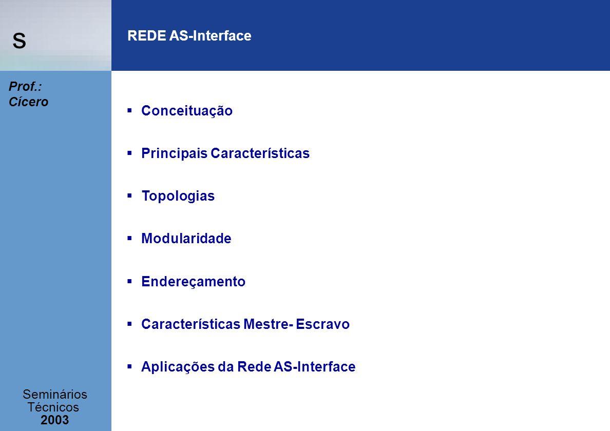 s Seminários Técnicos 2003 Prof.: Cícero REDE AS-Interface Conceituação Principais Características Topologias Modularidade Endereçamento Característic